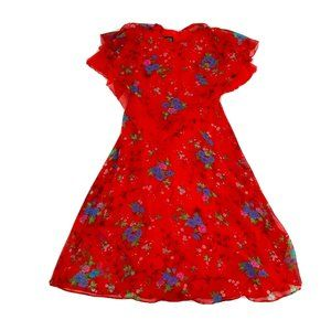 Silver Star Vintage Dress Women's Size 12 Red Floral A-line